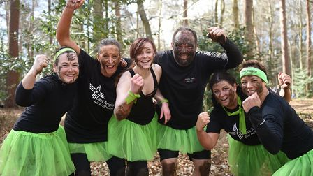 Only the Brave obstacle run at Elveden Estate. The Bannatyne Fitness team from Norwich.Picture: ANT