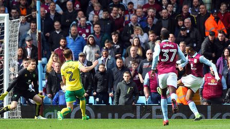 Jonathan Kodjia scores Aston Villa's opening goal in their victory over Norwich City at Villa Park.