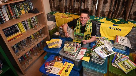 NCFC fan David Thornhill pictured with his match programmes and memorabilia.Picture: ANTONY KELLY