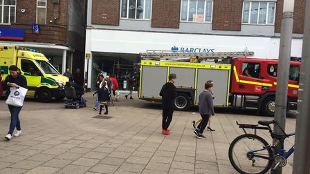 Emergency services attend to an incident in Great Yarmouth Market Place. Picture: Anne Edwards