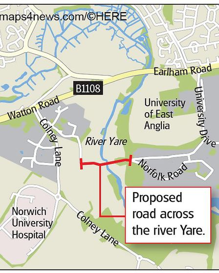 The proposed bus route from the UEA to the Norfolk and Norwich University Hospital. Graphic: Archant