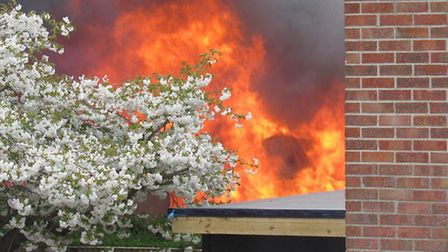 A photo of the shed and outbuilding fire in Burgh Road, Bradwell. Photo: Chloe Grace Brown