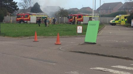 A photo of the shed and outbuilding fire in Burgh Road, Bradwell. Photo: Victoria Applegate