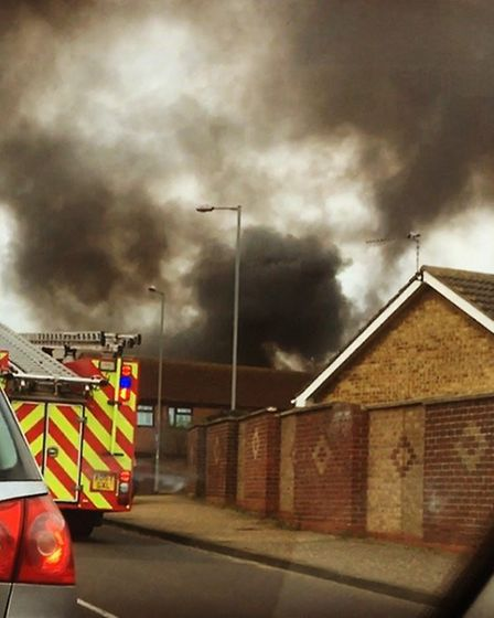 A photo of the shed and outbuilding fire in Burgh Road, Bradwell. Photo: Dean Borley