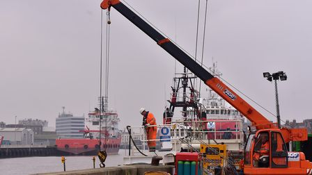 Work underway on the Yarmouth Tidal defence project at Bryants Wharf last year. Photo: Nick Butcher