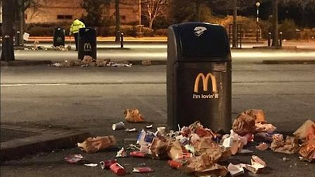 A group of youngsters have been spotted emptying the rubbish bins at Thetford McDonalds looking for