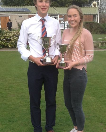 Winners of the top prizes at the Norfolk Schools' Championships, Toby Briggs and Amy Taylor. Pictur