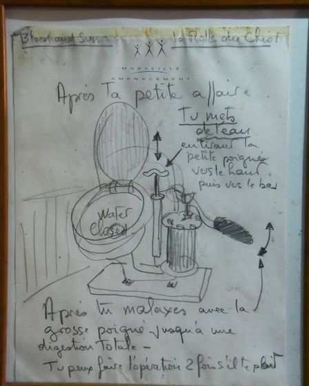 Instructions in french on how the toilet works on the 90-year-old pleasure wherry Ardea at the Wherr