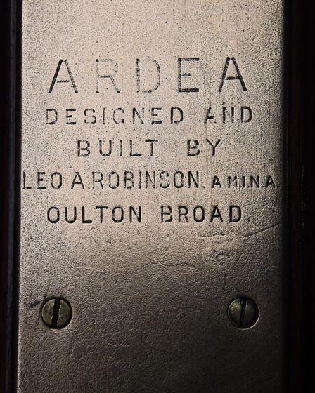 The plaque of where and when Ardea was built, on the 90-year-old pleasure wherry at the Wherry Yacht