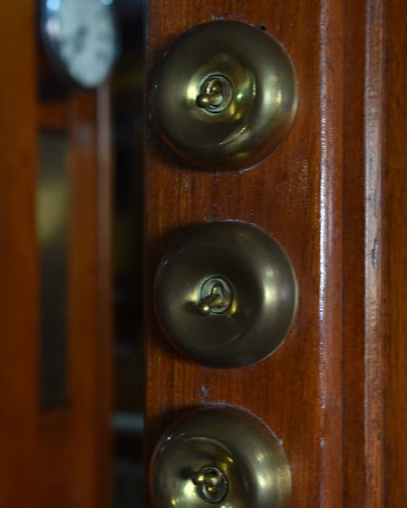 Original light switches on the 90-year-old pleasure wherry Ardea at the Wherry Yacht Charter site at