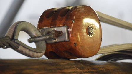 The mast pulley block on the 90-year-old pleasure wherry Ardea at the Wherry Yacht Charter site at W
