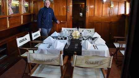 Chairman Andrew Scull, in the saloon withe the dressed dining table, on the 90-year-old pleasure whe