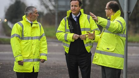 Then Prime Minister David Cameron on the road side at the A47 near Hockering, back in 2015, talking