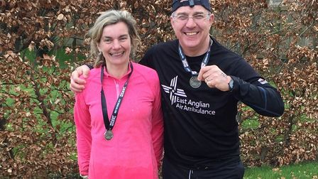 Norfolk farmer Tim Papworth, with his wife Emma, after completing the Only the Brave race to raise m