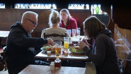 Customers tuck in at The Green Dragon in Wymondham. Photo from Mustard TV.