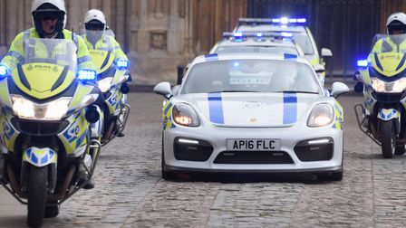 Norfolk police with the Porsche Cayman GT4 to be used in teaching road safety to young drivers. Pict
