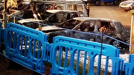 Six vehicles were set on fire at Haddiscoe. Picture Ben Cronin.