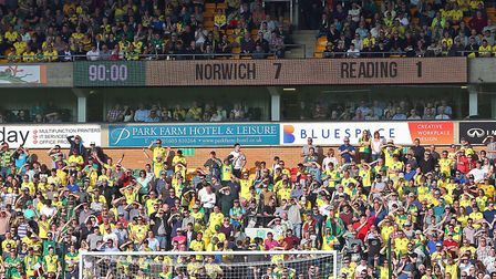 The scoreboard tells the story at the end of the Sky Bet Championship match at Carrow Road, Norwich