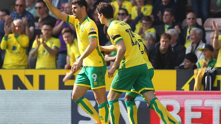 Here we go... Nelson Oliveira celebrates his early penalty. Picture: Paul Chesterton/Focus Images L