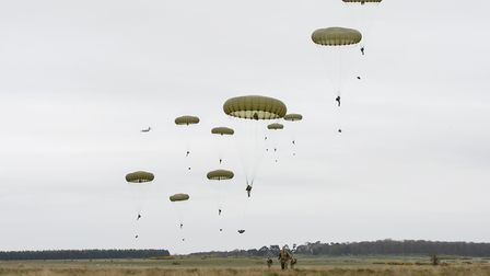 Soldiers from 2 Para Battlegroup jump into Stanta training area, near Thetford, as part of Exercise