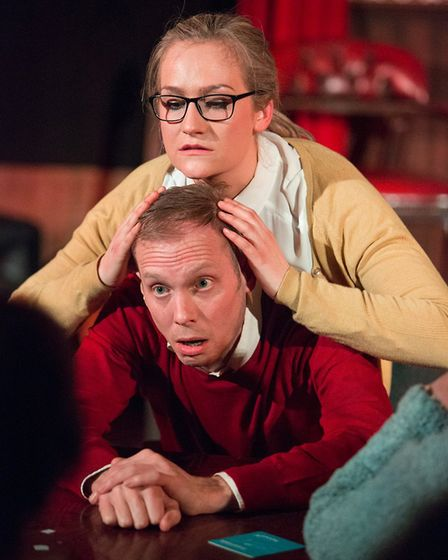 Hannah Howie as Prudencia and Simon Donaldson as The Devil in The Strange Undoing of Prudencia Hart