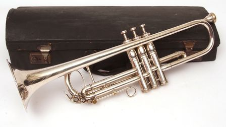 Sir Malcolm Arnold items to be auctioned. Sir Malcolm Arnold's trumpet. Pictures: Keys auctioneers