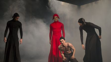 Lorenzo Trossello, Nicola Gervasi and Alexander Yap as Servants of the Inquisition with Liam Morris