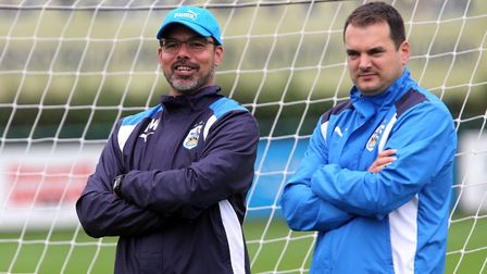 Stuart Webber, right -Norwich City's new sporting director - along with Terriers boss David Wagner.