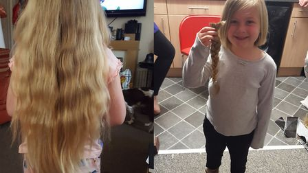 Sophie Bulldeath, from Attleborough, who had her hair cut for the Little Princess Trust charity. Pi