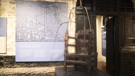 Inside the old Gaol Cells at the Stories of Lynn museum in King's Lynn. Pictured is a ducking stool,