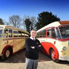 Robert Easton, director of Easton Holidays with two of the company's vintage coaches.Picture: ANTON