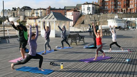 Yoga returns to Cromer Pier from May. Picture: NNDC