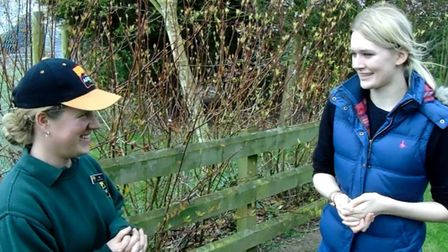 Senior Keeper, Zoe, (left) with reporter Megan Goodwin (right) at Africa Alive.