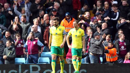 Russell Martin of Norwich and Steven Whittaker of Norwich look dejected after conceding their sideÕs