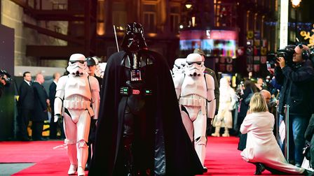 Darth Vader and Stormtroopers attending the Star Wars: The Force Awakens European Premiere held in L