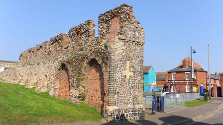 The remains of the town wall in Great Yarmouth near Blackfriars Road. Picture: James Bass