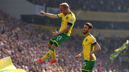 Alex Pritchard scored a first half brace in Norwich City's rout against Reading. Picture: Paul Chest
