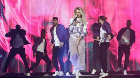 Louisa Johnson performs on stage at Capital's Jingle Bell Ball with Coca-Cola at London's O2 arena i