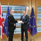 Britain's Ambassador to the EU, Sir Tim Barrow hand delivers Prime Minister Theresa May's Brexit let
