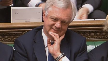 Brexit Secretary David Davis smiles after Prime Minister Theresa May announced in the House of Commo