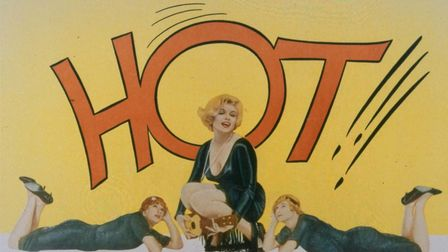 A lobby card for Billy Wilder's Some Like It Hot, 1959, starring Marilyn Monroe, Tony Curtis, and Ja