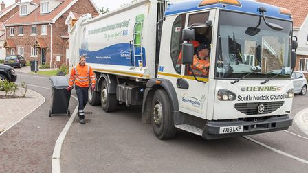 A South Norfolk Council bin lorry in action. Picture: Archant