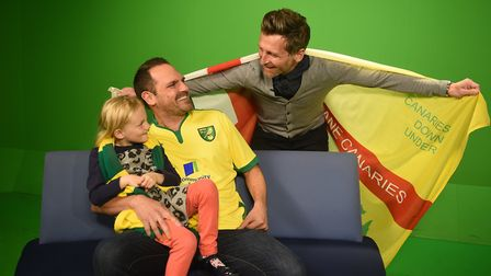 NCFC fan Leigh Woodrow, who started a Canaries fan group in Australia, gets to meet Darren Eadie on