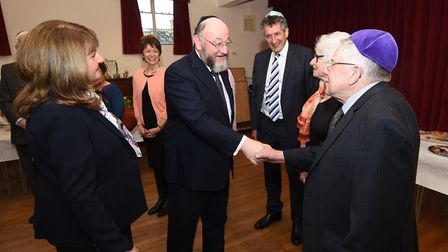 Chief Rabbi Ephraim Mirvis visiting Norwich Synagogue. Pictured meeting committee members.Picture: