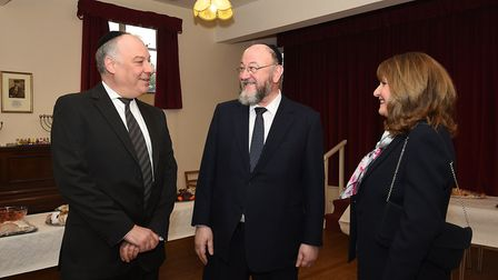 Chief Rabbi Ephraim Mirvis visiting Norwich Synagogue. Pictured, centre, meeting the president of No