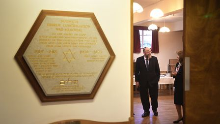Chief Rabbi Ephraim Mirvis visiting Norwich Synagogue. Pictured chatting to president of Norwich Syn