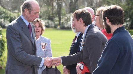 The Duke of Kent arrives for his visit to Holt Hall Environmental & Outdoor Learning Centre, meeting