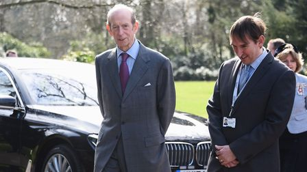 The Duke of Kent, with Mike Roper, head of outdoor centres for Educator Solutions, during the Duke's