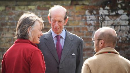 The Duke of Kent meets volunteer gardeners, Helen Banham and Andrew Verney, during his visit to Holt