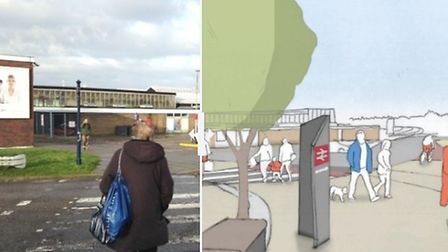 Before and after images of what Great Yarmouth train station could look like if £2m plans to rejuvin